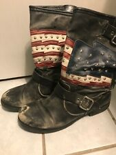 White Mountain American Flag Distressed Black Boots Kennedy Womens 10M
