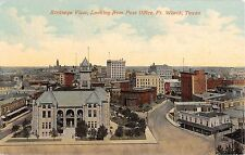 Texas postcard Fort Ft. Worth Birdseye View from Post Office aerial street scene