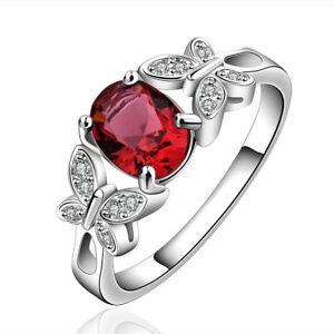 Silver Plated 925 Pink Red Oval Crystal CZ Engagement Ring Sizes  Q / 8 & O / 7