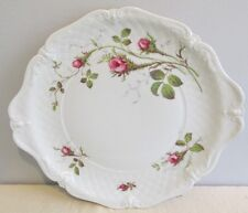 Royal Heidelberg Rose Brier White Embossed Scroll Pattern Handled Cake Plate
