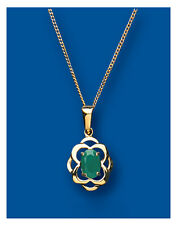 Emerald Colgante Collar Núcleo De Esmeraldas Oro Amarillo 45.7cm