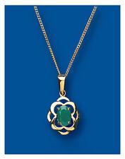 "Emerald Pendant Emerald Necklace Emerald Cluster Yellow Gold Emerald Pendant 18"""