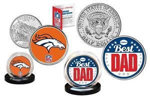 Best Dad - DENVER BRONCOS 2-Coin Set US Quarter and JFK Half Dollar NFL LICENSED