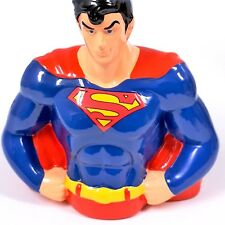 "Ceramic Superman Coin Piggy Bank FAB Starpoint - 7 3/4"" Tall D C Comics - New"