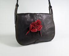 Lucky Brand Leather Handbag Flower Purse Messenger Crossbody Saddlebag Black