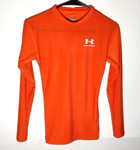 Under Armour Compression Shirt | Orange Base Layer Long Sleeve | Mens Small
