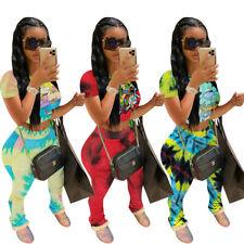 NEW Women's Stylish Short Sleeves Cartoon Print Draped Bodycon Jumpsuit 2pcs