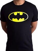 Batman Logo Classic Gotham Licensed DC Comics Justice League Black Mens T-shirt