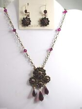 Liz Palacios Fuchsia & Ruby colors Crystal Necklace and Earring Set  NEW $216