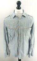 DIESEL Mens Shirt M Medium White Blue Check Cotton