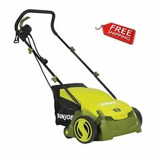 Sun Joe 13 Inch 12 Amp Electric Scarifier and Lawn Dethatcher with Bagger Aj801E