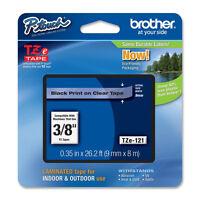 "Brother TZe121 TZ121 9mm 3/8"" black on clear P-Touch TZ label tape PT1290 PT1090"