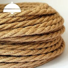 HEMP /HESSIAN - ITALIAN PREMIUM THICK Vintage fabric Style TWISTED 3-Core cable