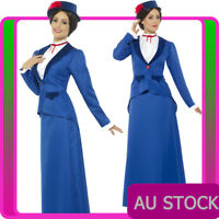 Ladies Victorian Nanny Mary Poppins English Maid Costume Book Week Fancy Dress