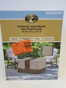 Hampton Bay Universal Large Square Outdoor Patio Gas Fire Pit Cover 40W x 40Lx25