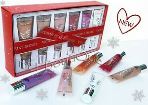 1 VICTORIAS SECRET HOLIDAY BEAUTY RUSH 6PC FULL SIZE FLAVORED LIP GLOSS GIFT SET