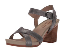 Hush Puppies Women's Mariska Buckle QTR Heeled Sandal, Dark Grey, 7 M US