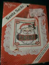"New Berlin Santa Sacks ""Santa Joy"" Cross Stitch Kit Size 3 1/2"" x 3 1/2"""
