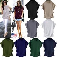 Plus Size S-6XL Women Turtleneck Short Sleeve Cotton Blouse Tops T Shirt US