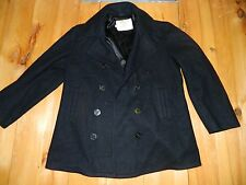 1980's Men's Unknown Brand Black Wool Peacoat Sz 42 Made in Usa used
