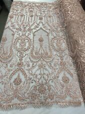 """Beaded Fabric Peach Embroidery Beads Fabric Lace Wedding Dress 50"""" By The Yard"""
