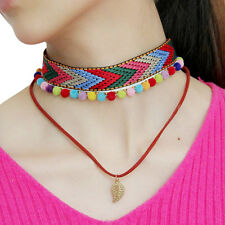 Vintage Woven Cloth Leather Rope Choker Chunky Statement Chic Women Necklace