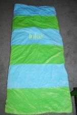 "CHASING FIREFLIES SLEEPING BAG RUGBY STRIPES PERSONALIZED ""LUKE"" RETAIL $118"