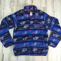 Vtg Purple Patagonia Synchilla Snap-T Pullover Jacket Aztec Geometric Sz Small