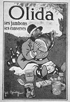 PETITE PUBLICITÉ DE PRESSE 1921 OLIDA SES JAMBONS SES CONSERVES