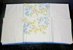Vintage Estate Find  Crocheted Lace Embroidered Blue Bird Pillowcases