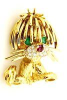 18k yellow gold Hammerman Lion pin ruby diamond chalcedony 1 inch 5.6dwt No Tail
