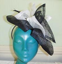 BESPOKE EXQUISITE CREAM BLACK STRAW PINK RHINESTONE FASCINATOR HAT ON HAIRBAND
