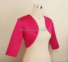 Raspberry Pink Satin Bolero/Shrug/Jacket/Stole/Shawl/Wrap 3/4 Sleeve Lined ///