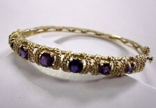 14k Yellow Gold Amethyst Bangle Bracelet