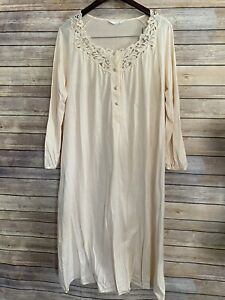 Hanro Nightgown Embroidered Lace Cotton Long Sleeve Blush Pink Ivory