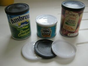 6 X PLASTIC TIN CAN LIDS FOR STANDARD SIZE TINS A GOOD TIGHT SEAL BLACK/WHITE