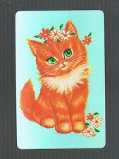 Playing  SWAP Cards  1 GENUINE   VINT  RETRO FLOWER POWER GINGER KITTEN #194