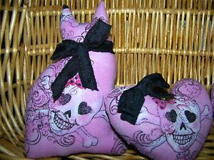 Pink Skull Bone Harley GIRL Bow Heart Glitter Cotton Halloween Cat & Heart