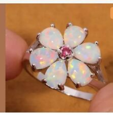 Stunning White Fire Lab Opal & Pink Topaz Crystal Silver Sz 11 Ring