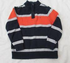 TOMMY HILFIGER boys 3T 1/2 1/4 zip cotton pullover sweater striped blue orange