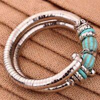 Tibetan Silver Twisted 2 Layer Adjustable Green Turquoise Arm Bangle Bracelet v