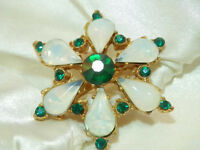 Vintage 40's Deco Opal Glass Emerald Green Rhinestone Star Flower Brooch 311s7