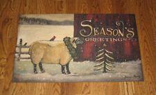 Christmas Throw Rug/Mat*Lamb/Tree*Primitive/French Country/Farmhouse Decor*NEW