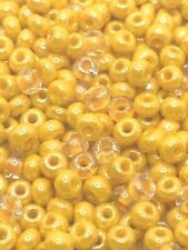 SIZE 6/0 YELLOW PEARL LUSTER & COLOR-LINED ROCAILLE CZECH GLASS SEED BEADS 40 GM