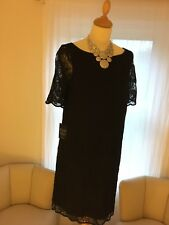 Stunning Alexon Black Dress With Lace Overlay, Deep Blue Satin Underneath Size10