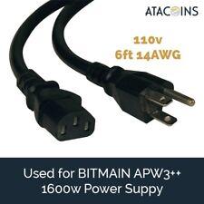 6ft 15AMP Power Cord 14awg NEMA 5-15P - C13 USA for BITMAIN APW3++, Printer, PSU