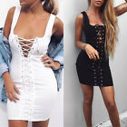 Women Lace up Hollow Out Bodycon Bandage Cocktail Evening Party Short Mini Dress