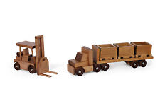 Flatbed Tractor Trailer Wood SKID TOY TRUCK & FORKLIFT Set Crates USA Handmade