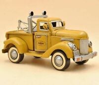 "ANTIQUE YELLOW PICK-UP TRUCK  "" PENNZOIL "" Hot Cast Tinplate Metal Sculpture Art"