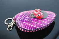 Genuine Leather Zipped Coin Purse Change Wallet Card Holder Leaf /& Lady Bug